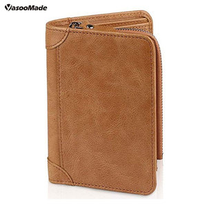 European business two fold men's leather mighty wallet oil wax leather fashion zip ticket wallet