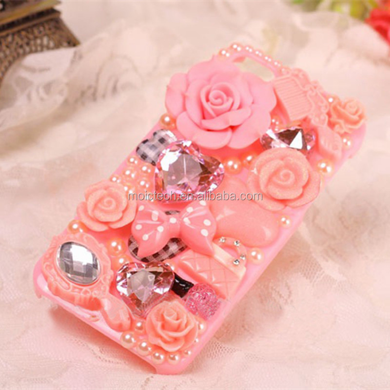 In Stock Latest Crystal Sparkle Bling 5.5 Inch Mobile Phone Covers Case With Diamante Rose Rhinestone Gems For iPhone 5