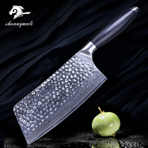 Low MOQ 7inch 67 Layer Damascus Steel Chinese Kitchen Chef Cleaver Chopping Knife