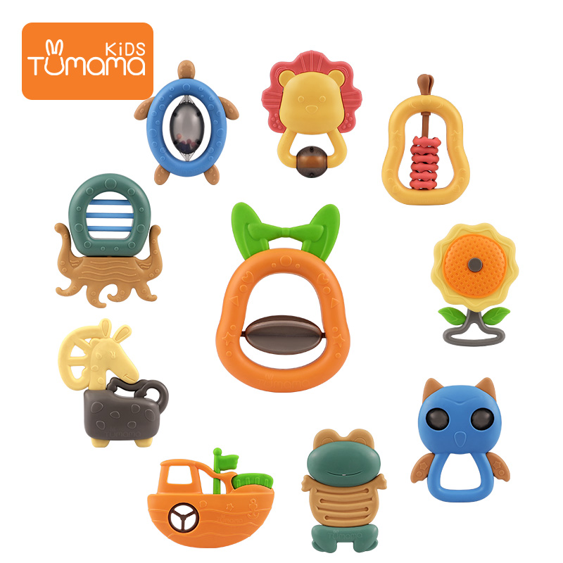 Natural silicone PBA free animal baby toys set plastic teether rattle