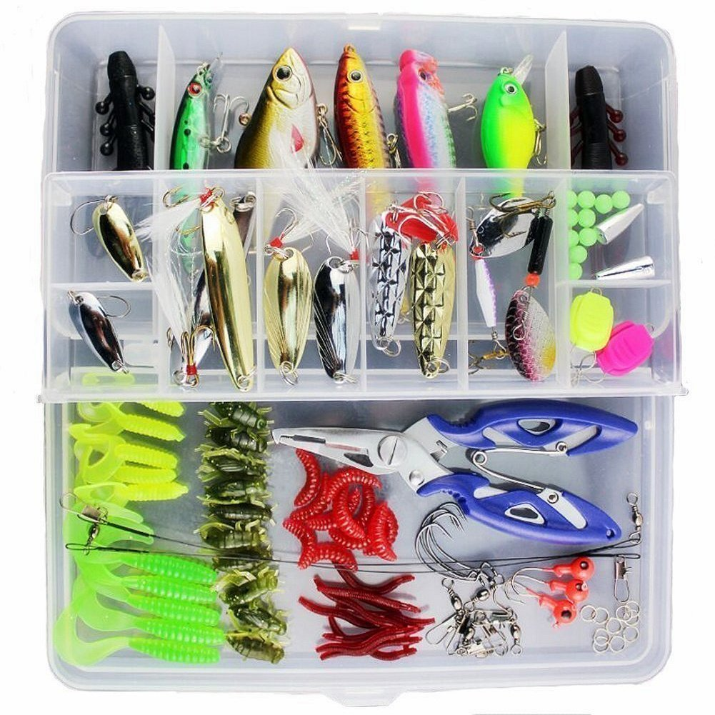 100pcs Fishing Lures Set Fishing Bait Hook Kit Freshwater with Tackle Box