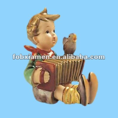 Colored Resin Handmade Playing and Singing Kid and Bird Figurine