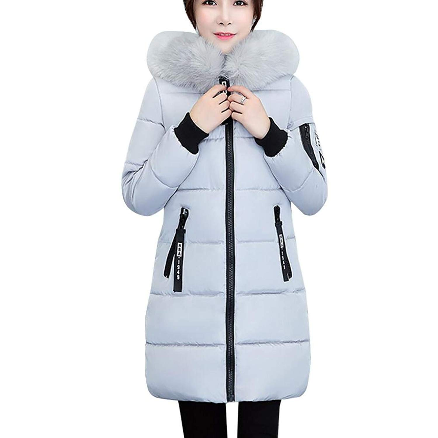 MMUA Womens Winter Jacket Warm Overcoat Slim Thicker Long Coat Parka Lammy Outwear