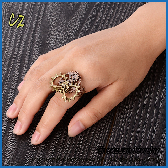 steampunk antique bronze adjustable finger ring men steampunk gear ring jewelry