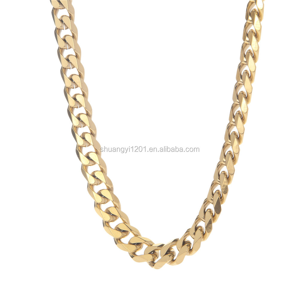 Stainless Steel Gold Plated Flat Link Curb Chain Men Necklaces Jewelery For Gifts