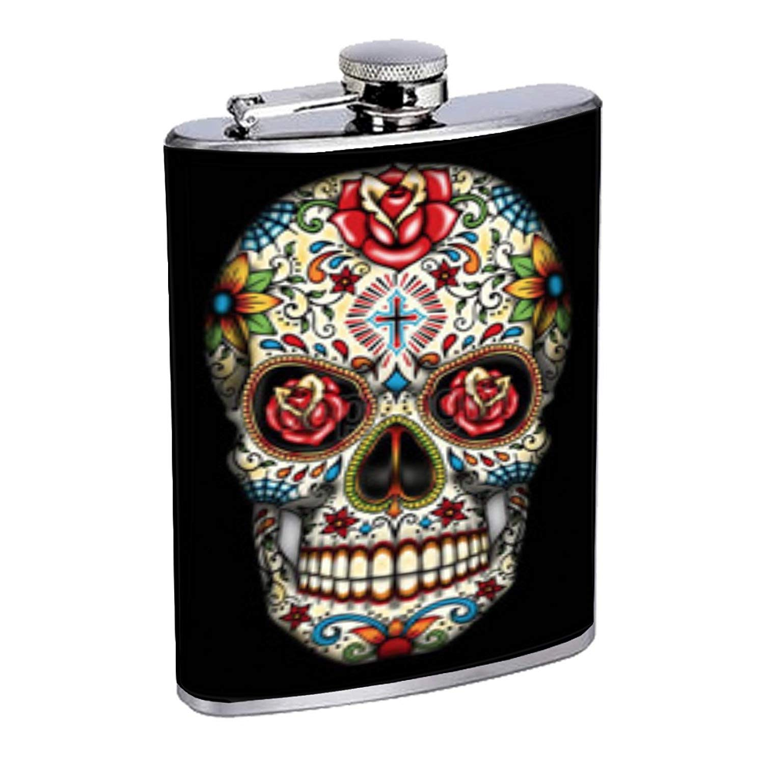 35592cff526 Get Quotations · Rose Cross Sugar Skull Have Fun Gifts Elegant Fine Touch  Leak Proof Small Primo 18