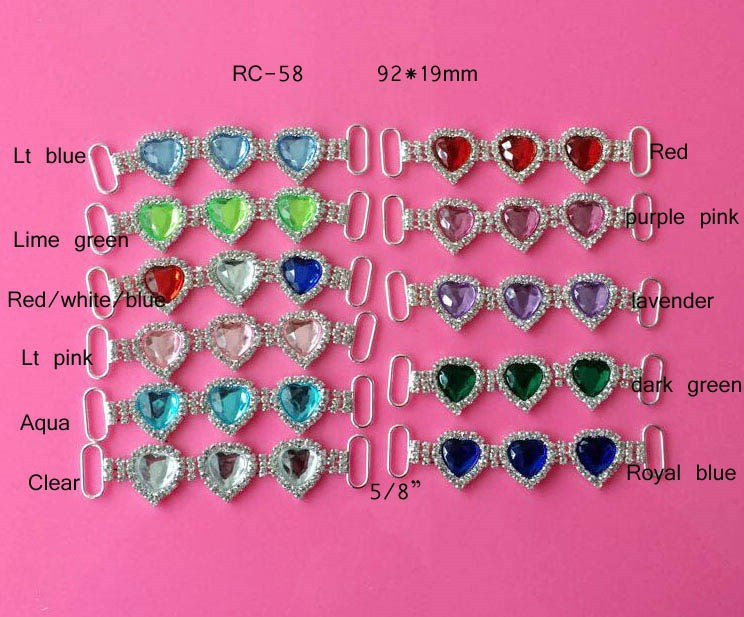 Stock hot selling Factory price colorful heart rhinestone connector for headband/hairwear for bikini (RC-58)
