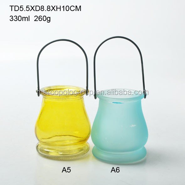 coloured round glass latern/ glass candle holder with hang handle