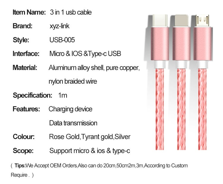 Data cable 2016 Wholesale keychain data charger 3 in 1 usb data cable