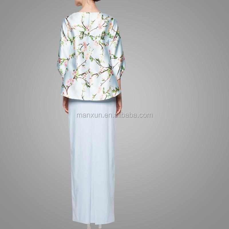 2016 Hot Sale Baju Kurung Floral Printing Baju Kebaya With Flouncing Skirt