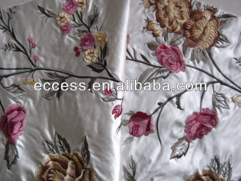 silk cotton material embroidered pattern decoration fabric