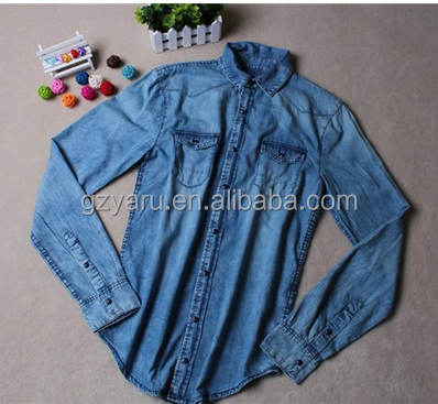 Yaru Garment Women Long Sleeve Casual Blue Jean Denim Shirt Tops Blouse Jacket manufacture
