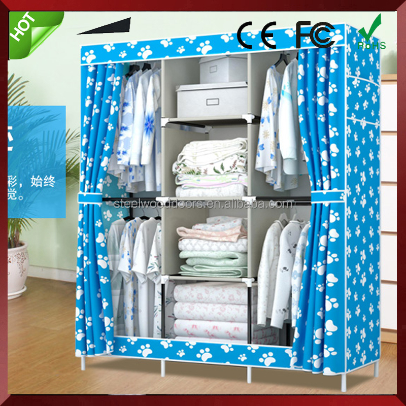 portable clothes storage shelf easy assembled plastic closet with zipper
