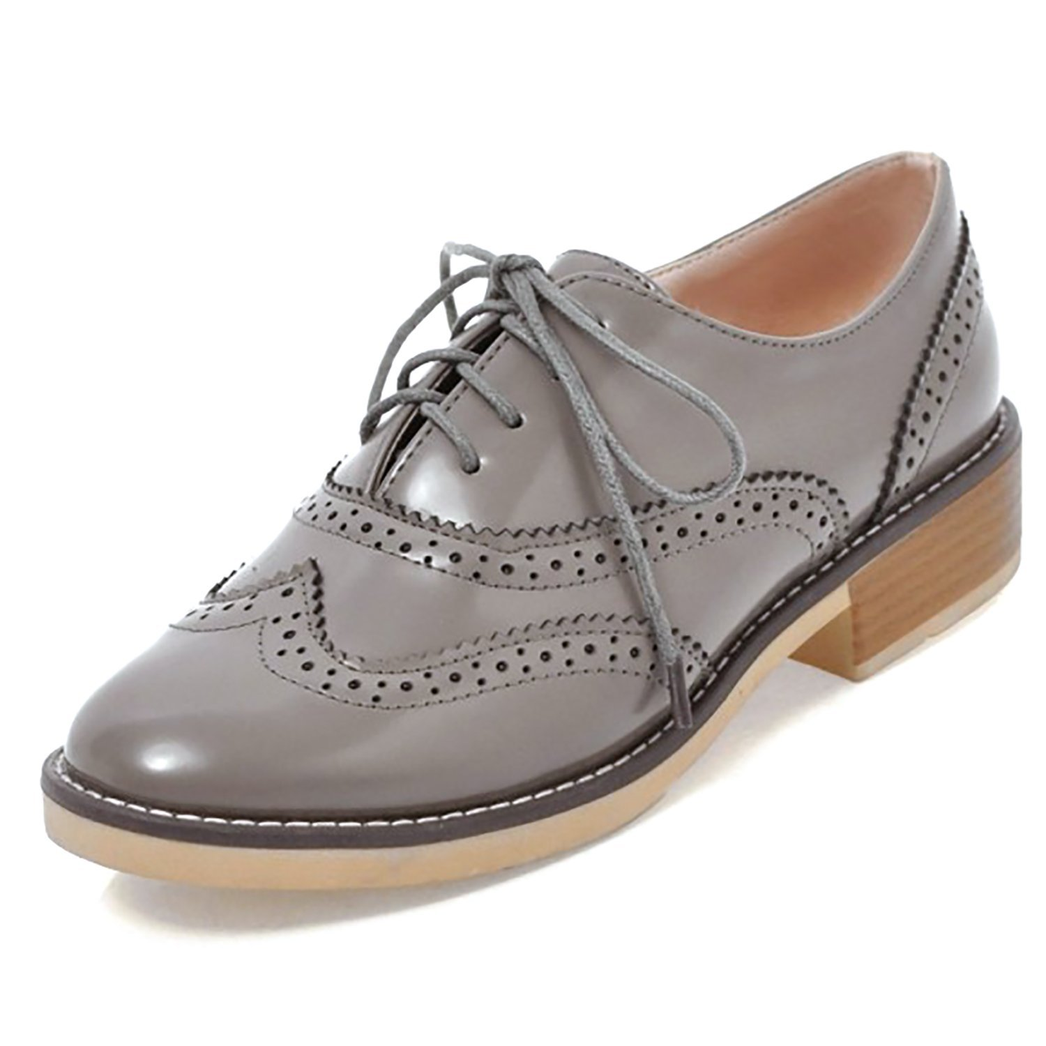 8bbef37c60 Get Quotations · Odema Womens PU Patent Leather Oxfords Brogue Wingtip Lace  Up Chunky Low Heel Shoes Dress Oxfords