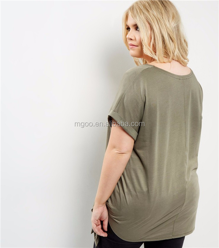 5ba8cfd3a132 Women Plus Size Oversized Roll Sleeve Plain T-Shirt Longline Olive Green  Ladies Tie Side