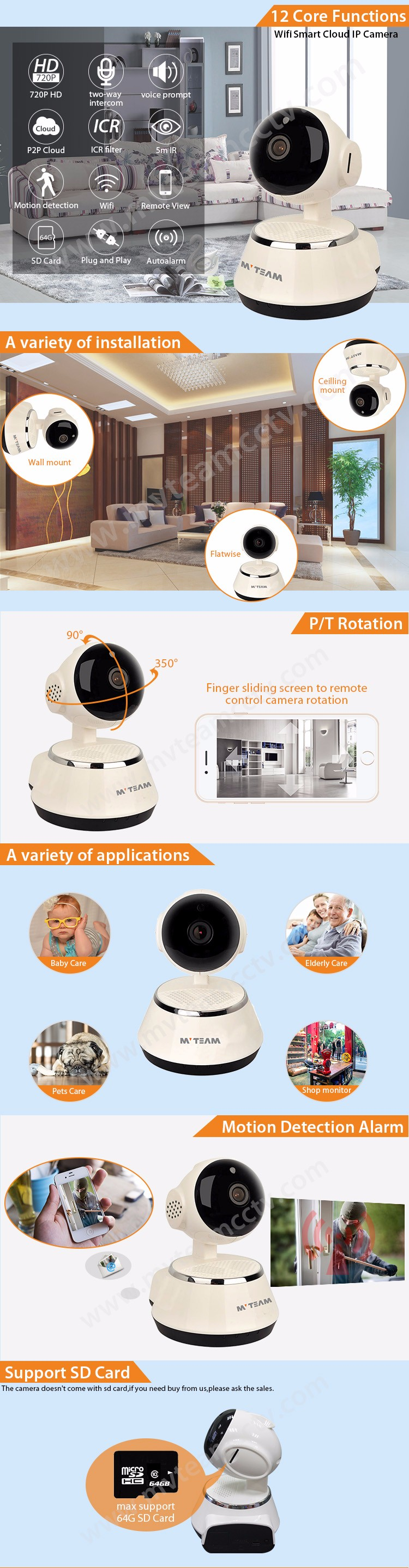 720P Mobile app V12 camera cctv wireless wifi IP camera HD smart Cam, View  cctv wireless wifi IP camera, MVTEAM or OEM Product Details from Shenzhen
