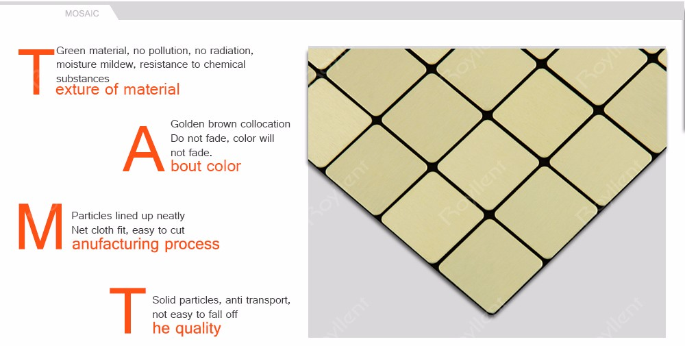 Modern Kitchen Metal Mosaics Gold Brush Mosaic Tile for Bathroom Wholesale Building materials China supplier RM201621