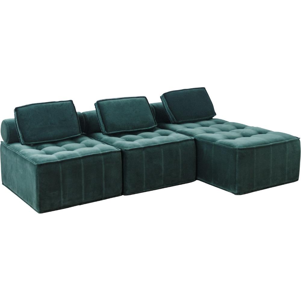 Chic Home Disenador Seccion Terciopelo Verde Oscuro L Sofa En Forma