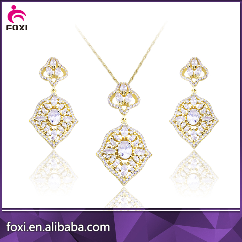 women sterling silver zirconia paved wholesale cz jewelry set for wedding