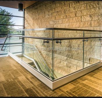 Aluminium U Kanal Rahmenlose Gehartetem Glas Balkongelander Designs