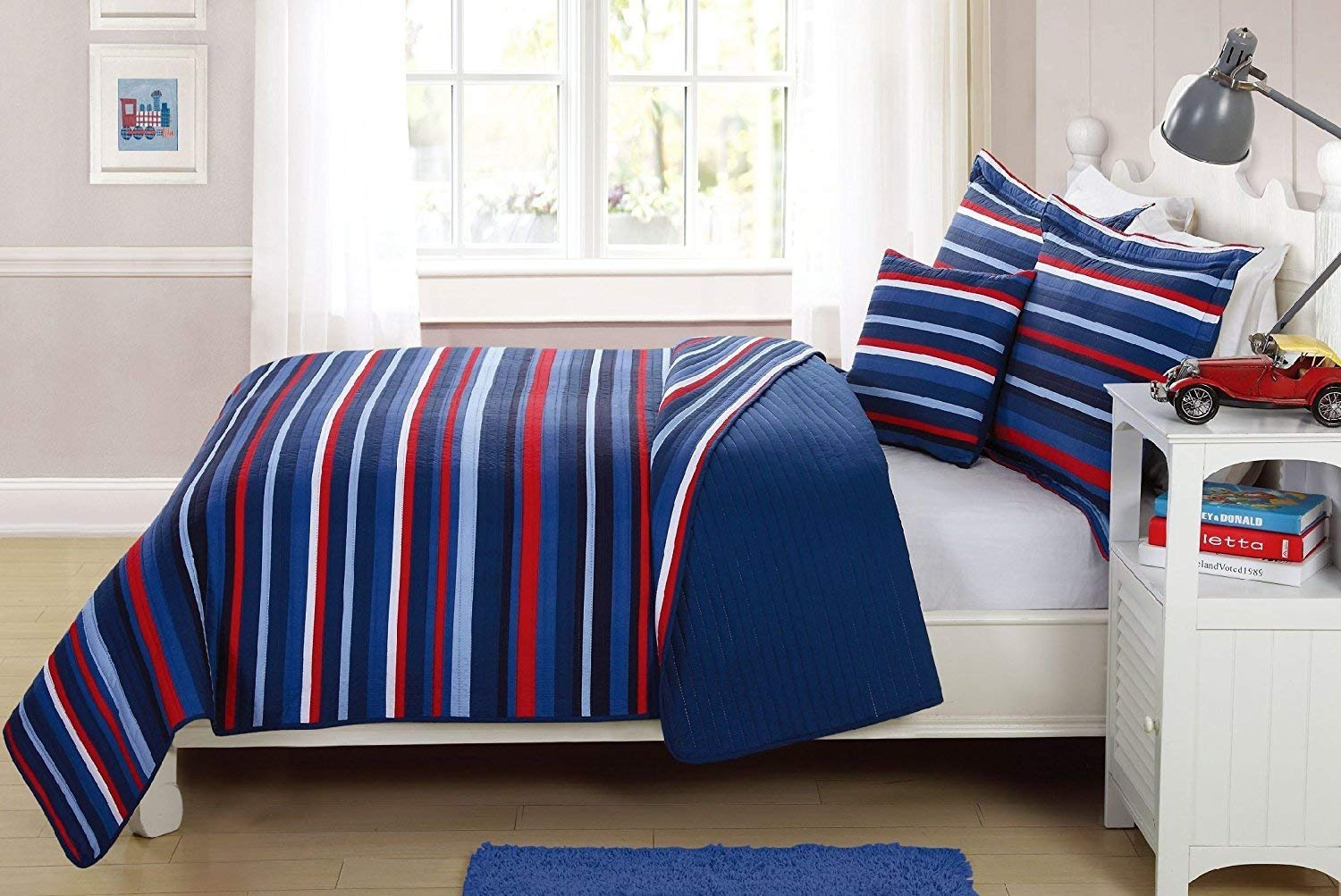 Fancy Linen Bedspread Coverlet 3 PC Twin Size Stripe Navy Blue Light blue Red White Reversible New #Ocean Breeze