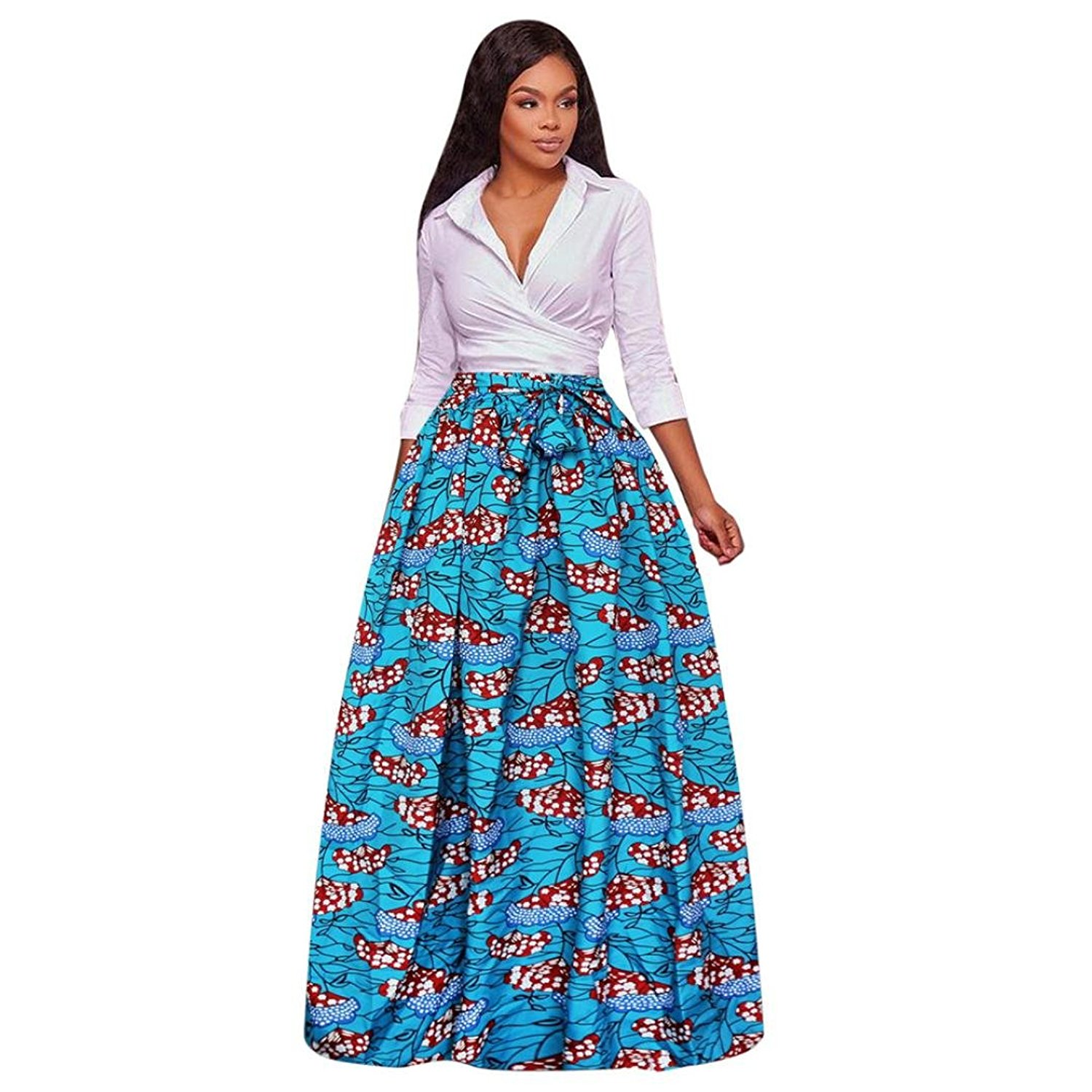dfe8302bb95 Get Quotations · Aurorax Women s High Waisted Skirt Front Slit Belted Maxi  Skirt with Pockets