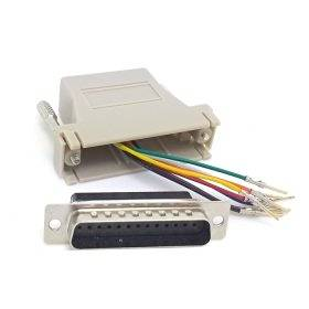 CY Serial Interface D-Sub 25pin Male Extender To Lan Cat5 Cat5e RJ45 Ethernet Female Adapter Beige Color