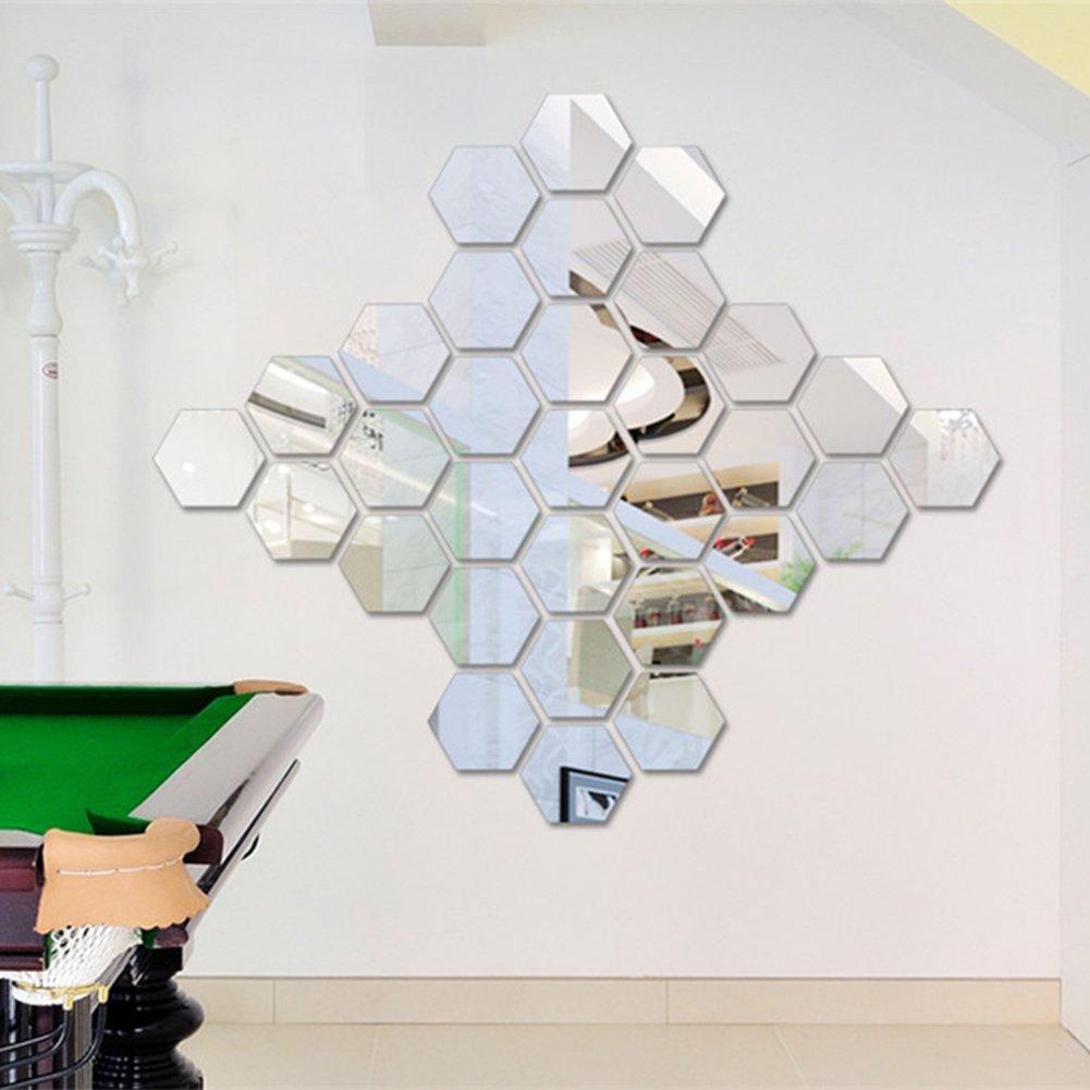 Sunm Boutique Hexagon Mirror 12 PCS Geometric Hexagon Mirror Removable Hexagon Mirror Art DIY Home Decorative 3D Hexagonal Acrylic Mirror Wall Stickers for Room Decor (16cm/6.3inch, Silver)