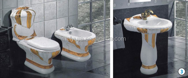 New design black color sanitary ware bathroom set with wc bowl and bidet and pedestal basin
