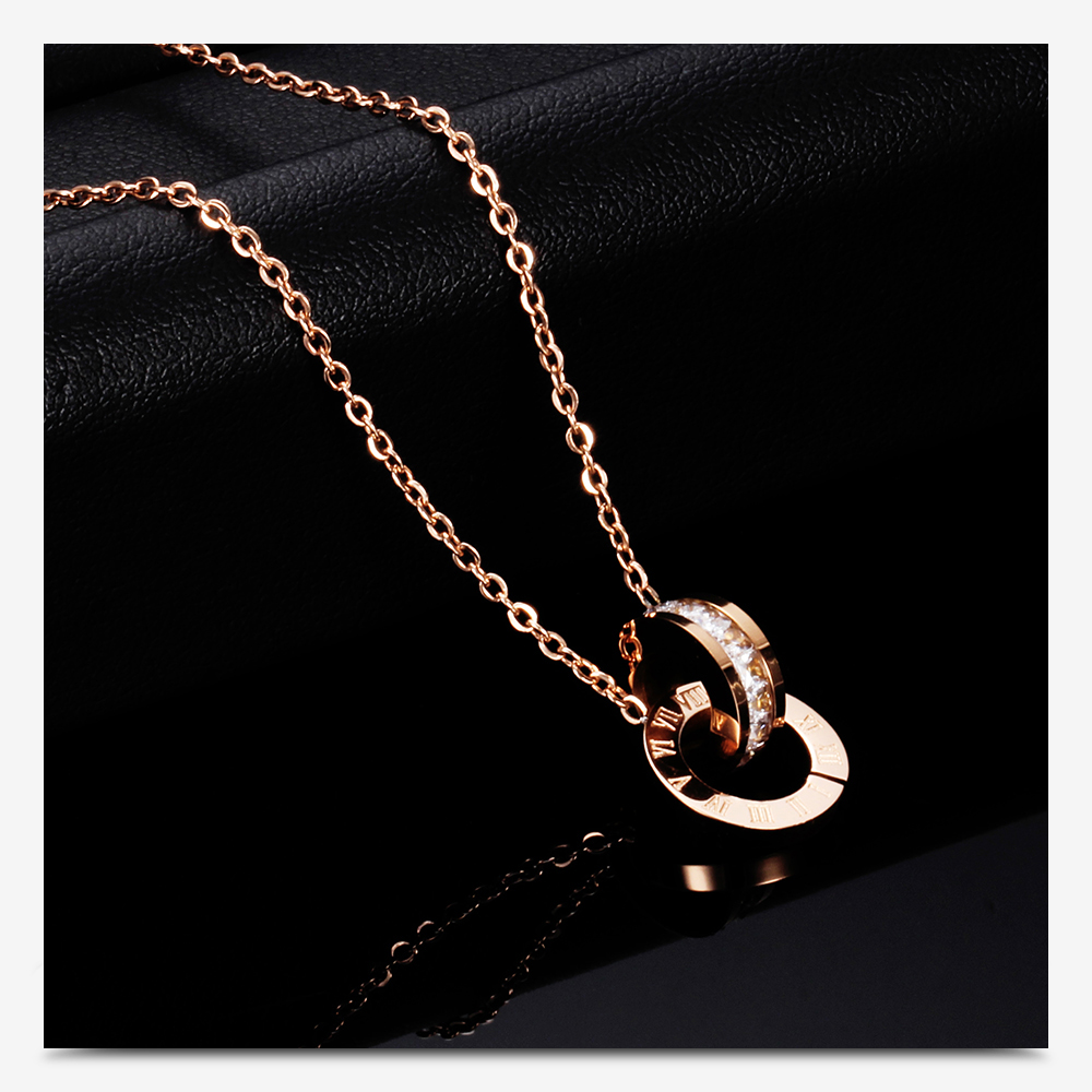 2019 New Fashion Rose Gold Plated Stainless Steel Roman Numerals Necklace