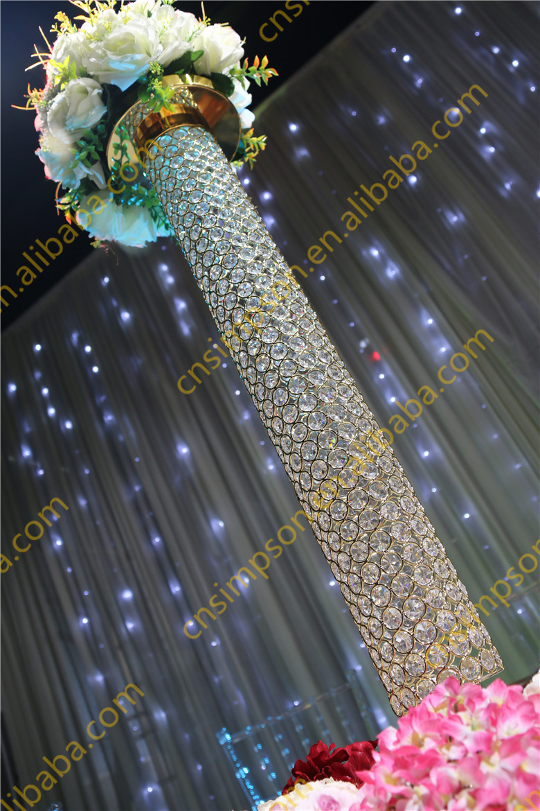 Golden crystal beaded pillar crystal vases for wedding golden crystal beaded pillar crystal vases for wedding centerpieces reviewsmspy