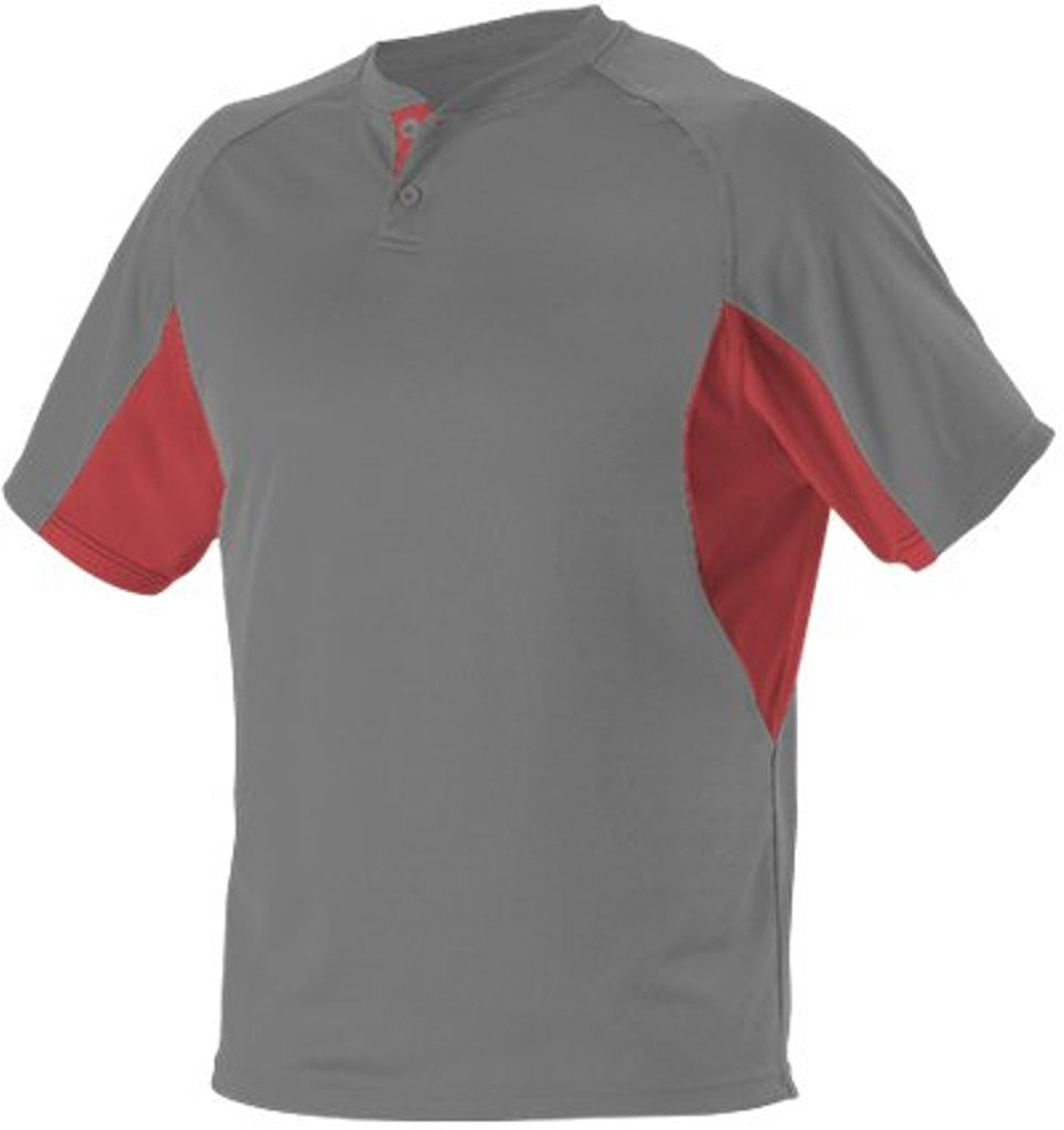 Alleson Baseball Jersey - 2-Button Henley Extreme Mock Mesh - 525Y - Youth Small (S) - Charcoal/Red