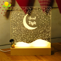 Wholesale 3D Acrylic Wooden Base Wood Led Night Light DIY