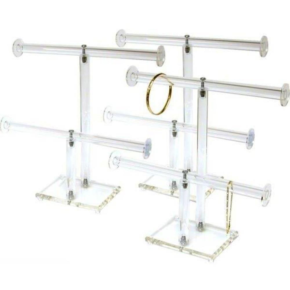 3 2 Tier Clear Acrylic T-Bar Bracelet Necklace Jewelry Displays Stands
