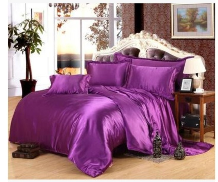 buy purple luxury silk satin bedding sets super king size queen full twin quilt. Black Bedroom Furniture Sets. Home Design Ideas