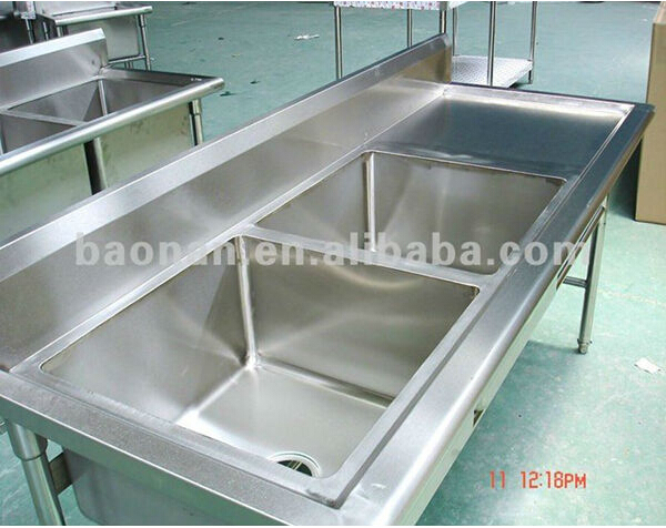 commercial stainless steel double bowl kitchen sink with