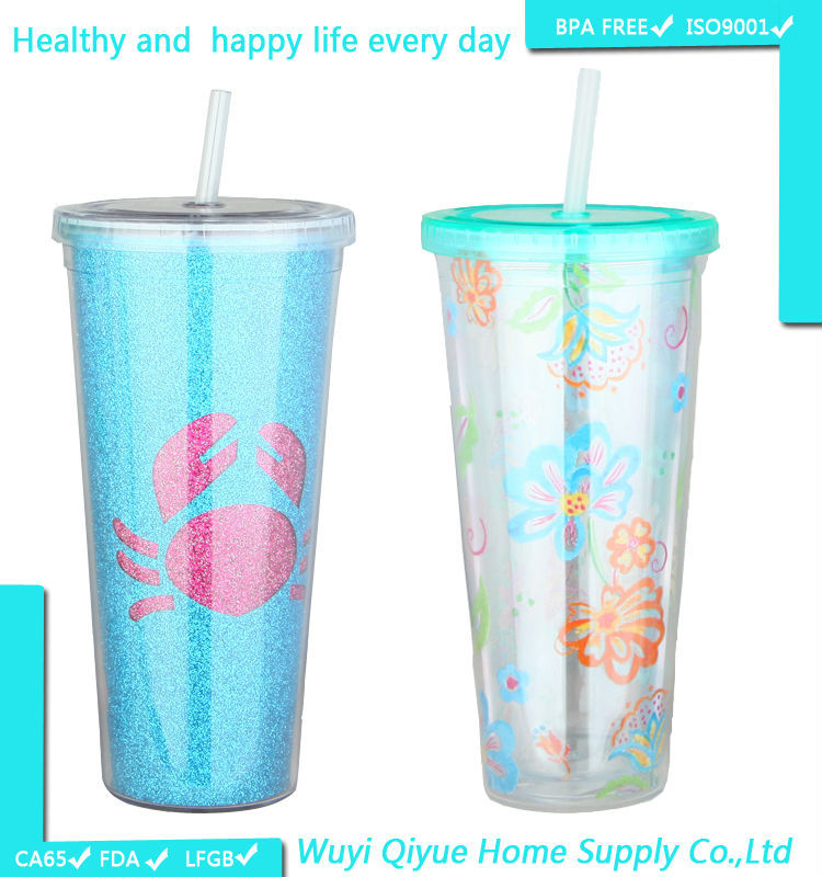wholesale double wall glass starbucks plastic tumbler with straw, Custom plastic tumbler cups Plastic tumbler