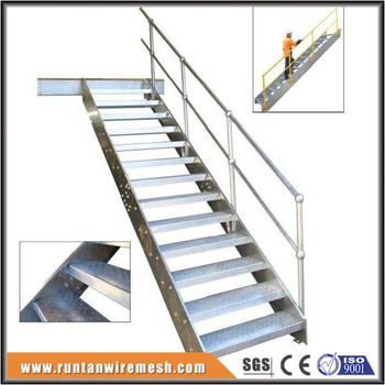 Outdoor Industrial Metal Galvanized Steel Grating Stairs