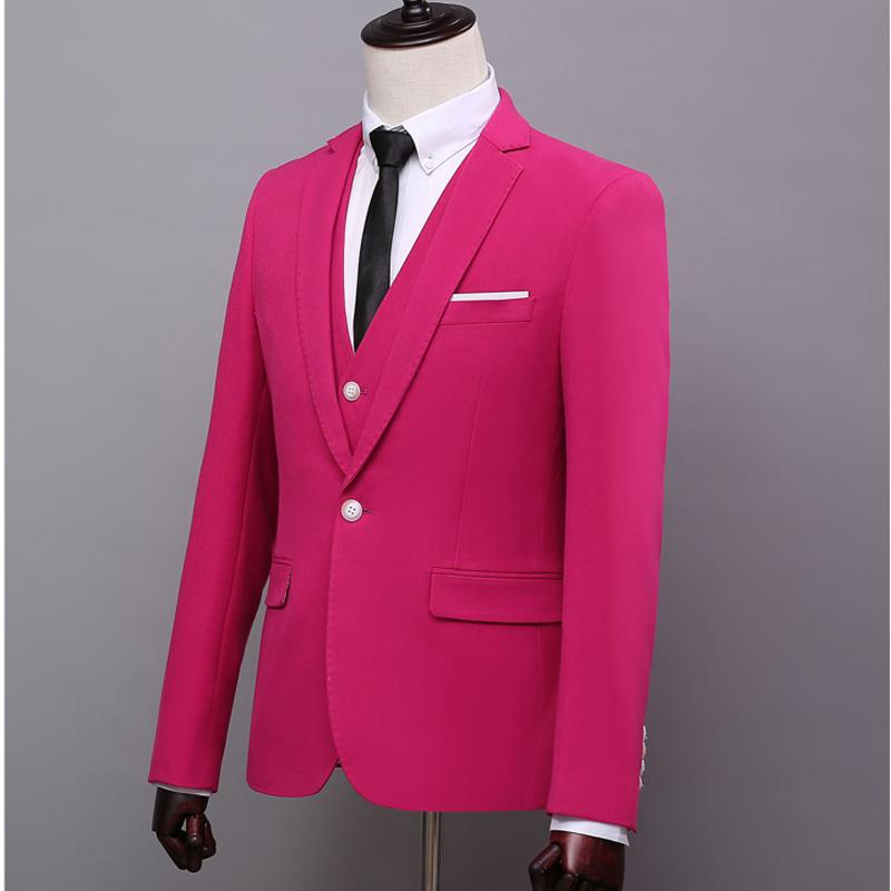 ZH134 2018 personalizado Rose Red mens trajes slim fit trajes de ...
