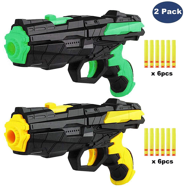 NeatoTek 2 Pack Foam Toy Blaster Gun Refill Foam Dart Gun for Kids Shooting Gun with 12 PCS Soft EVA Darts for Kids Hand Gun Toy