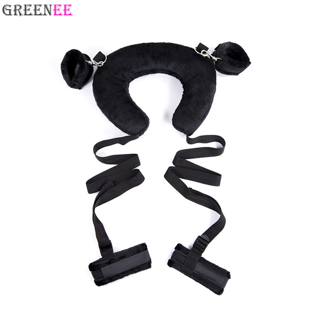 Sexual Wellness Self-Conscious New Handcuffs Ankle Cuffs Wrist Pu Leather Chain Slave Restraint Device Blue Other Sexual Wellness