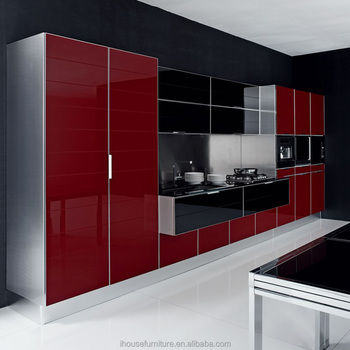 High Gloss Tempered Glass Kitchen Cabinet Wine Color Glass Door ...