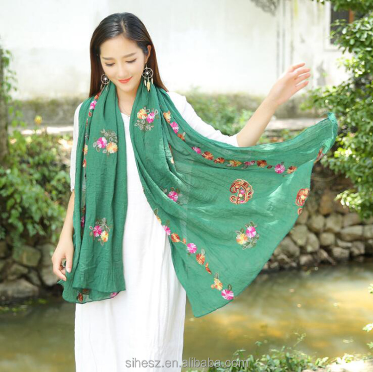 wholesale scarves muslim fashion women embroidery flowers floral designs scarf