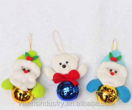 Save 20% Hanging Santa Claus Christmas Jingle Bell with Santa Claus Snowman and Bear Pendant For Christmas tree Decoration