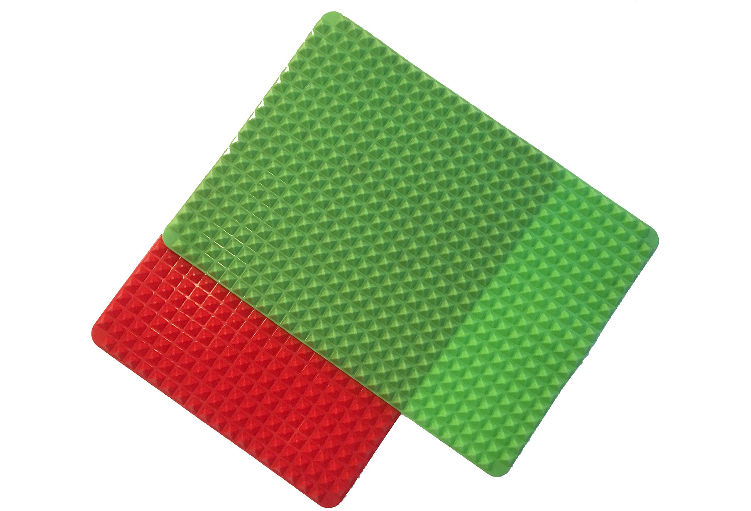Pyramid Pan Silicone Baking Mat Set of 2 (Green and Red). Non-stick, Half Sheet, Fat Reducing Mats for Healthy Cooking.