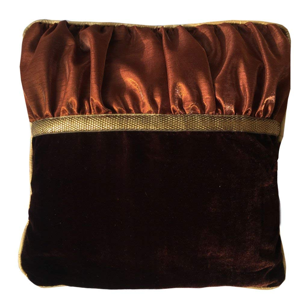 Decorative Square Luxuries Velvet Silk Piping Pillow cover with Brown Velvet Coffe Color Dupioni & Yellow Piping pillow cover