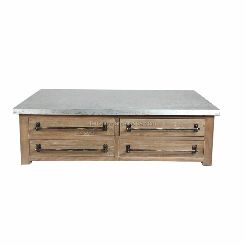 Zinc Top Coffee Table,Recycle PINE Drawer Unit Coffee Table,Antique Solid  Wood Coffee