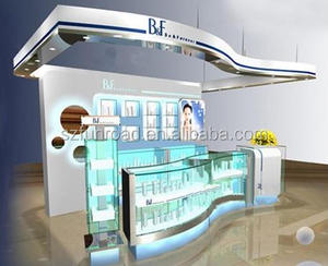 unique decoration retail mall cosmetic display units with drawer