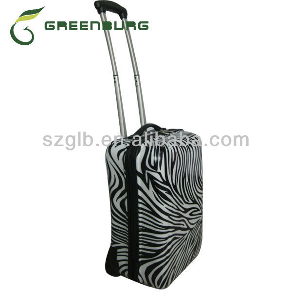 cheap ABS/PC lightweight spinner luggage trolley hard case with zebra printing