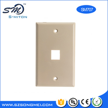 White abs single port rj45 outlet faceplate 70*114mm